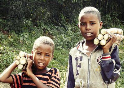 Niños vendiendo caña de azúcar en alguna carretera del sur de Etiopía (04 de junio de 2016) | © Juan Pablo Guevara